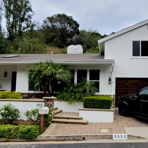 """Mid-Century Studio City home exterior painted in Sherwin Williams """"Alabaster"""""""
