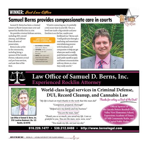Winner of Best Law Office - Rocklin Best of the Best 2021