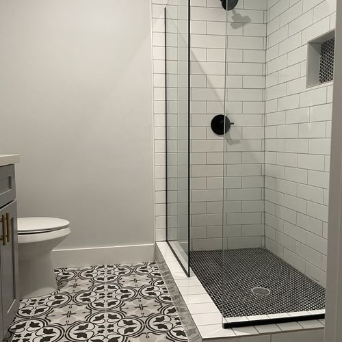 Shower install, new tile floor and vanity install