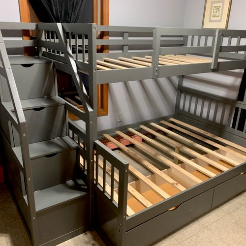 Assembly of a double twin bunk bed with slide and stair attachment. $350 for assembly. 9hrs.