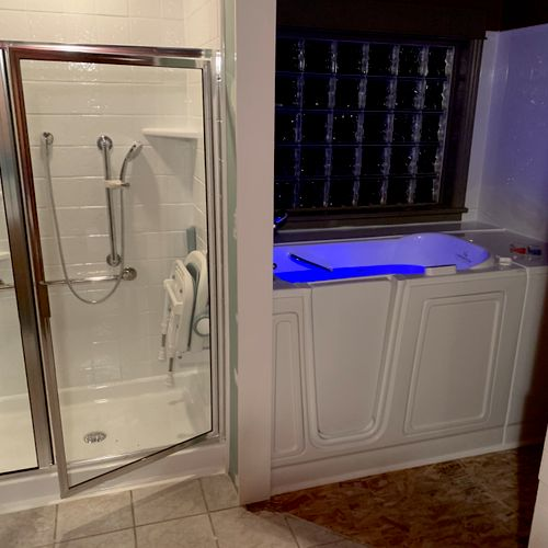 Shower and walk in tub installation.