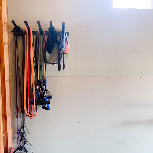 The studio has a collection of weighted bands to assist in accomplishing many different types of workouts.