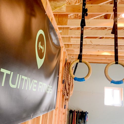 The Intuitive Fitness banner displayed in my training studio illustrates my logo and exhibits my gratitude to be able share this space with you!