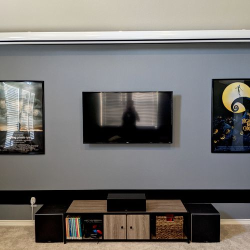 """TV mount, 160"""" projector screen mounted, all cabling"""