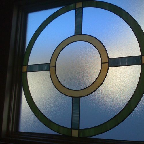 Custom stained glass privacy overlay