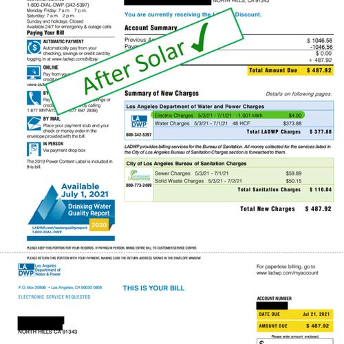 Electrical bill AFTER solar