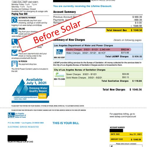Electrical Bill BEFORE solar