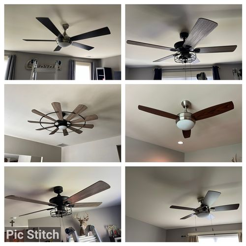 Replaced and Installed new remote ceiling fans throughout home.