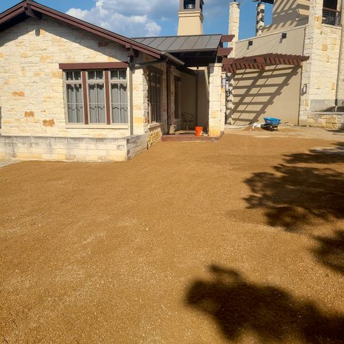 %75 done crushed granite driveway. Picture doesn't do it justice.