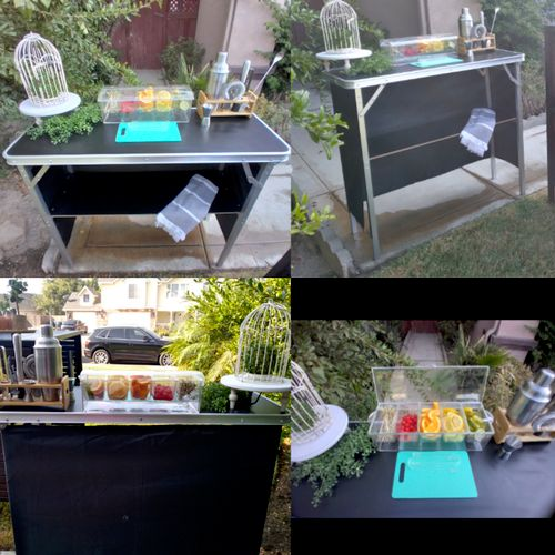 Small portable foldout Bar for the smaller indoor or outdoor parties. I've done Graduation, Retirement and Birthday parties with this cutie..