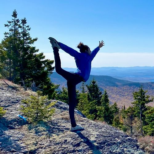 In my free time, I love being in nature and practicing yoga! That's me back when I had a yogi-bun 😉. I teach yoga and meditation in Boston.