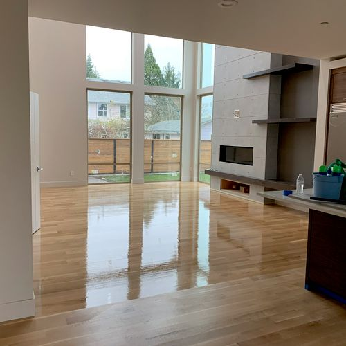 SE Portland floors 1st coat going on (water base)
