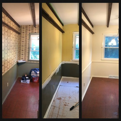 Wallpaper removal to interior painting from trim to ceiling