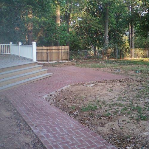 Diagonal herringbone walkway and deck