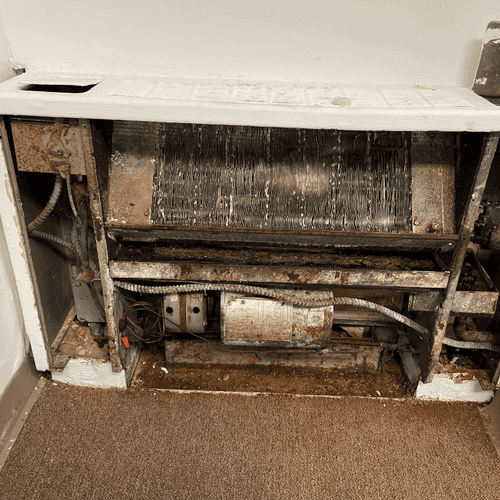 Here is an example of a very dirty convector from a commercial building - yup, we clean and service them too!