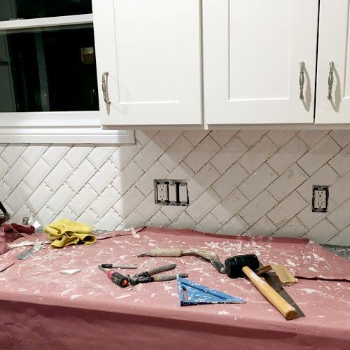 Kitchen backsplash complete (before cleanup)