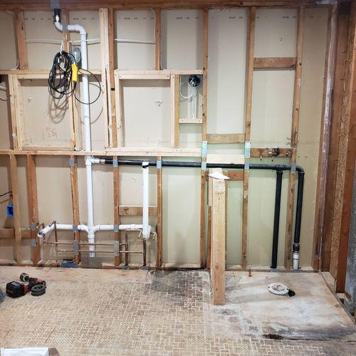 Master bathroom fixtures relocation