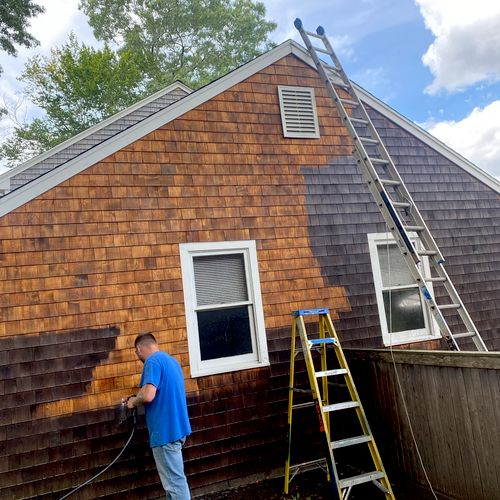 Pressure washing-mold cleaning