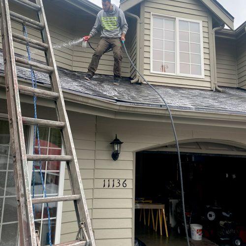 Applying liquid moss treatment on a roof