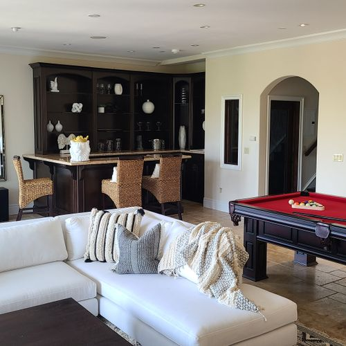 Working with our client, we custom created this wall color for their game room in the beautiful south of the boulevard Sherman Oaks Home!