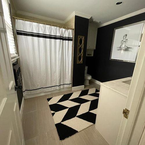 Renovated Black and white bathroom